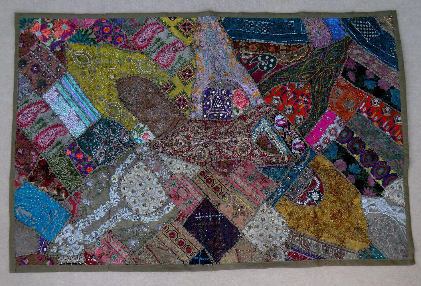 100 x 150 cm Wandteppich Khaki Wandbehang Bollywood Rajasthan Patchwork Sari  | Klein und fein