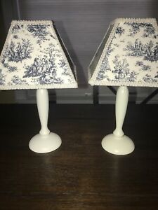 "8"" Table Lamp Candle Holder Stand Home Decor Blue Shade White Stand French Toile"