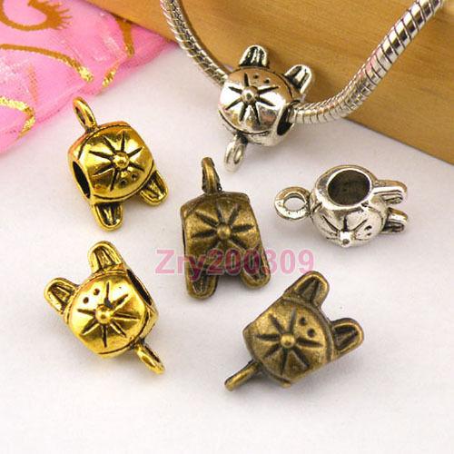10Pcs Tibetan Silver,Gold,Bronze Mouse Beads Bail Fit Charm Bracelet M1395