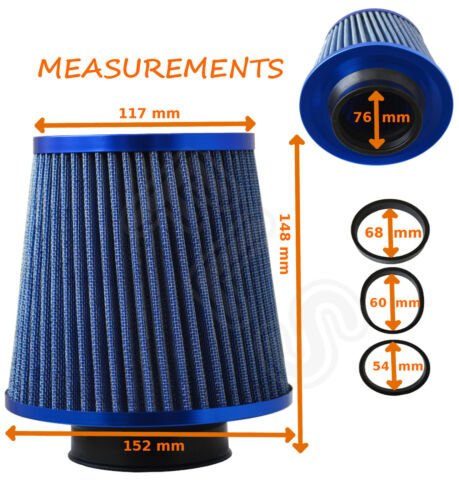 BLUE  UNIVERSAL FREEFLOW PERFORMANCE AIR FILTER /& ADAPTERS MG