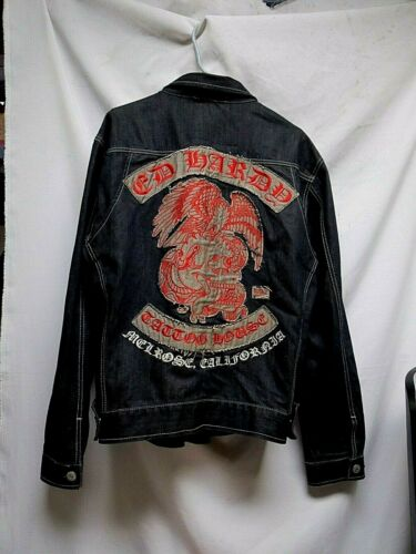 Don ED HARDY Buzz Kill Bumble Bee Jacket Skull Candy Arms Size Small Nice weight Cotton Spandex Hollywood Bull Dog Label 2 Front Pockets