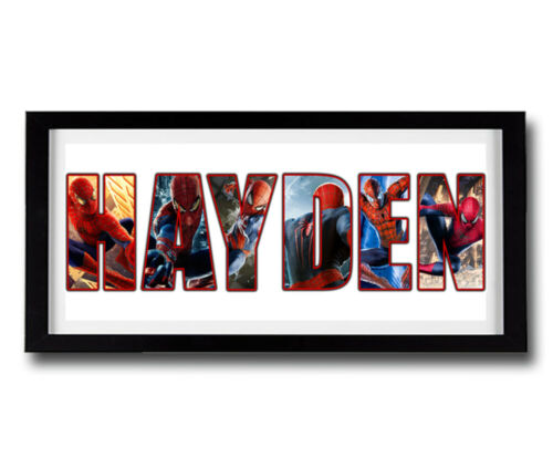 High Quality Frame Included Disney SPIDERMAN Personalised Name Print Art
