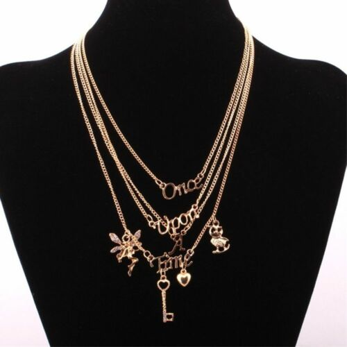 Fashion Key Love Heart Once Upon A Time Letter Pendant Multilayer Necklace Gift