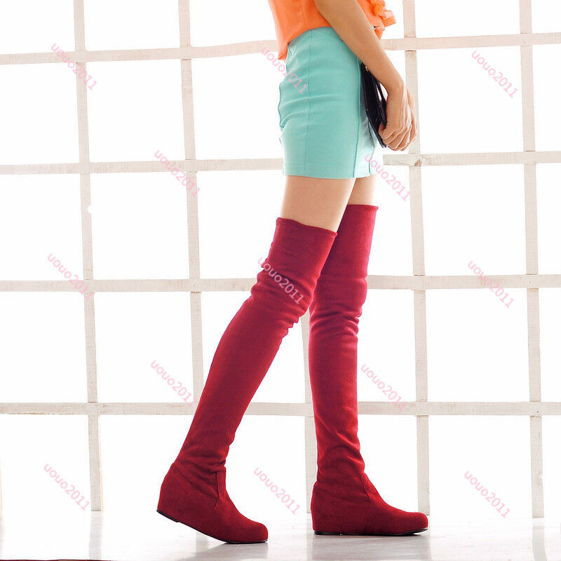 Stretchy Womens Over The Knee Thigh High Boots Flat Hidden Heel Casual PlUS SIZE