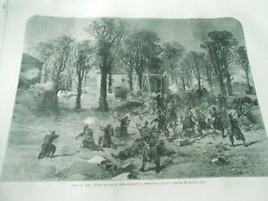 SincèRe Siege Of Paris Night Attack By The Prussians Gravure Antique Print 1870 Blanc De Jade