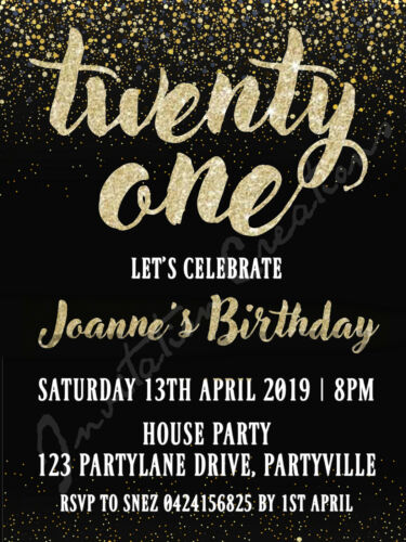 DIY Print Custom GOLD GLITTER 18TH 21ST 50TH 30TH Birthday Party Invitations