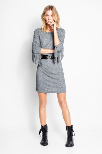 ZADIG VOLTAIRE Gray Wool Winter Fringes Cowgirl Co