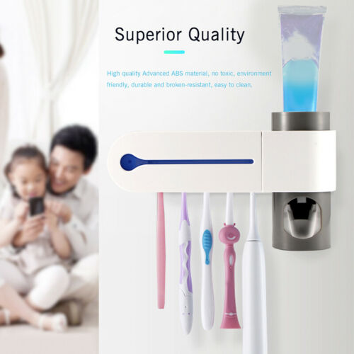 2 In 1 UV Toothbrush Sterilizer Toothbrush Holder Automatic Toothpaste Disp CWI