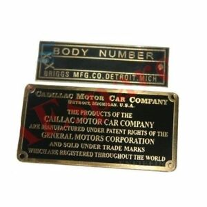 Cadillac Motor Company Car Company Information Body Number Plate