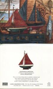 VINTAGE-TOY-WOOD-SAIL-BOATS-WOOD-DUCK-DECOYS-FISHING-CABIN-COTTAGE-ART-NOTE-CARD