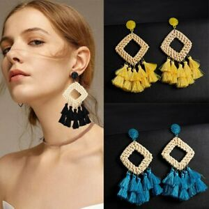 New-Women-Bohemian-Earrings-Long-Tassel-Fringe-Boho-Dangle-Earrings-Jewelry-Gift