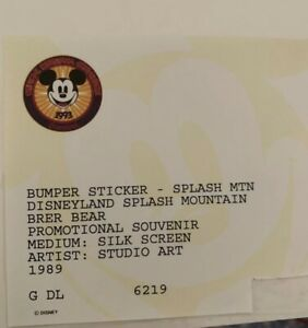 Splash-Mountain-RARE-1993-Official-Disneyana-Convention-Bumper-Sticker-SEALED