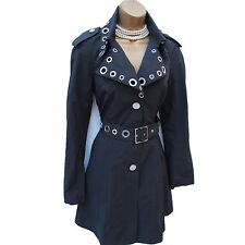 Karen Millen Tailored Military Black Posh Mac Trench Rain Coat Jacket 10 UK