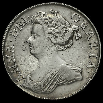 1713 Queen Anne Early Milled Silver Half Crown, VF