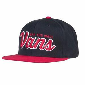 44ca70e00db Vans Off The Wall Wilmington Mens Black Red Adjustable Snapback Hat ...