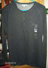 CALVIN KLEIN Long Sleeve BLACK Henley Shirt ~  Sz L ~ 100% Cotton ~ MSRP $59.50