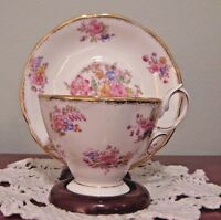 Royal Albert Pink and Blue Floral Footed Cup & Saucer Bone China England