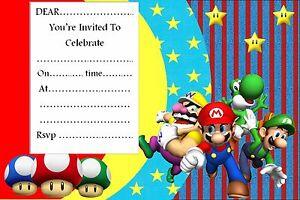 Super Mario Birthday Party invitations 102030 or 40 envelopes A6