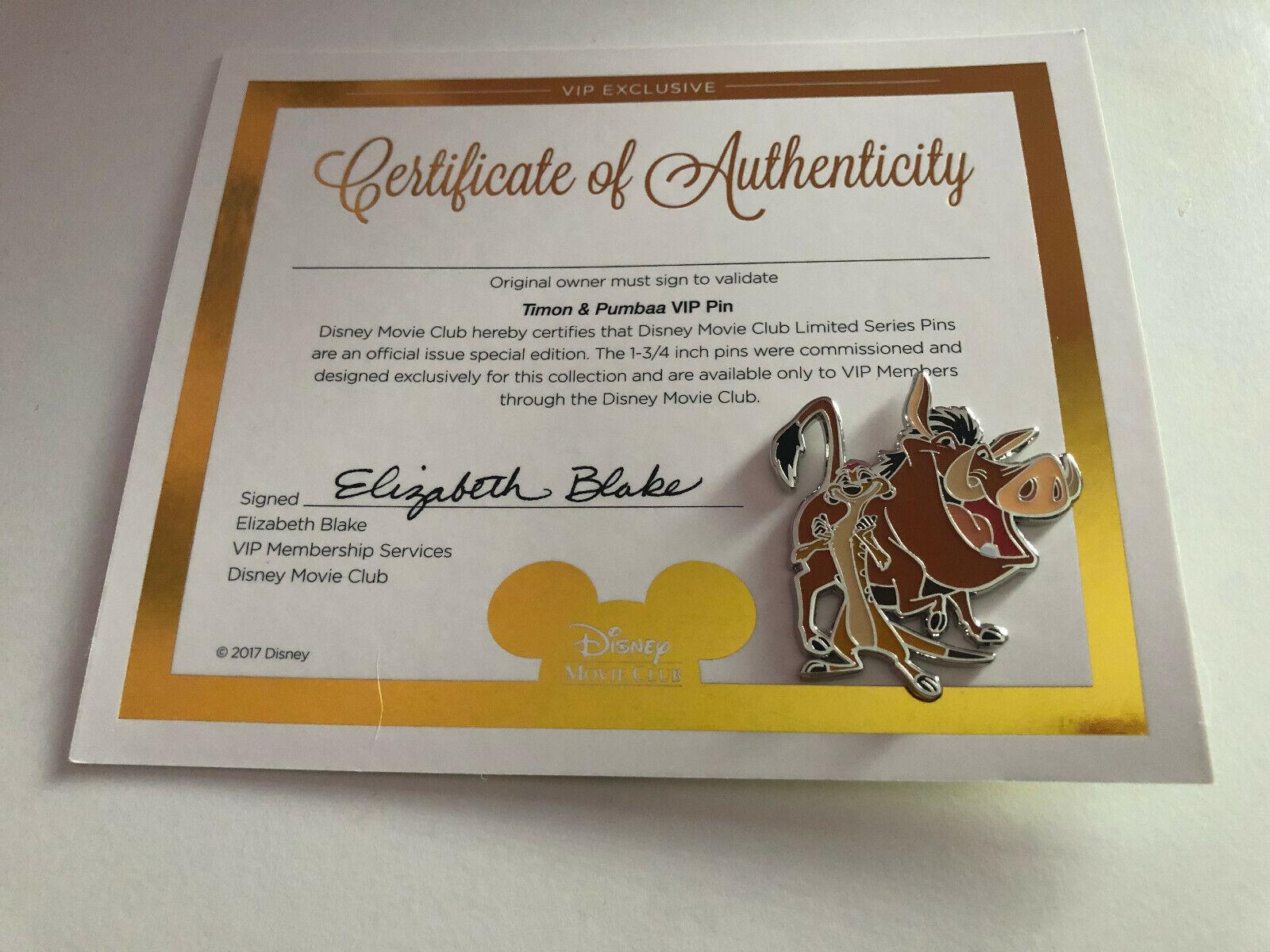 Timon /& Pumbaa Pin Disney 2017 Disney The Lion King Movie Club VIP