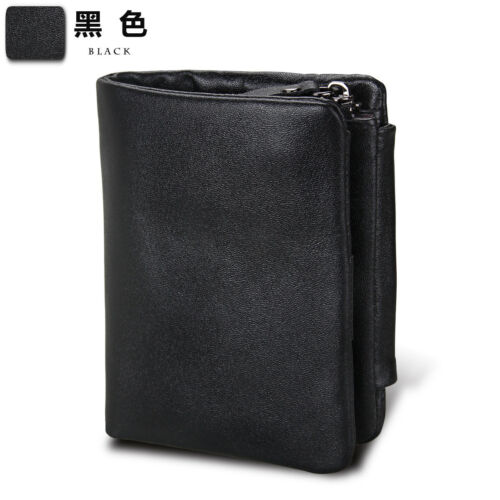 Men Genuine Leather Vintage RFID Trifold Wallet Hybrid ID Purse With Coin Pocket