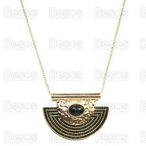 LARGE-AZTEC-HALF-MOON-pendant-NECKLACE-long-chain-TRIBAL-hammered-GOLD-FASHION