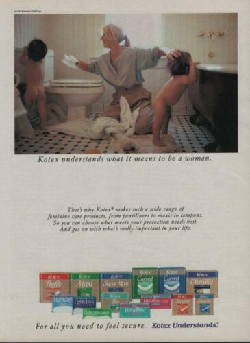1992 Kotex Pads Tampons Magazine Ad Mom Toddlers Babies Bathtime Bare Bottoms