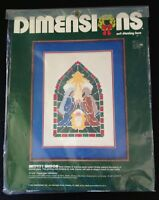 Vintage, Sealed Dimensions Net Darning Lace Christmas Nativity Window Kit