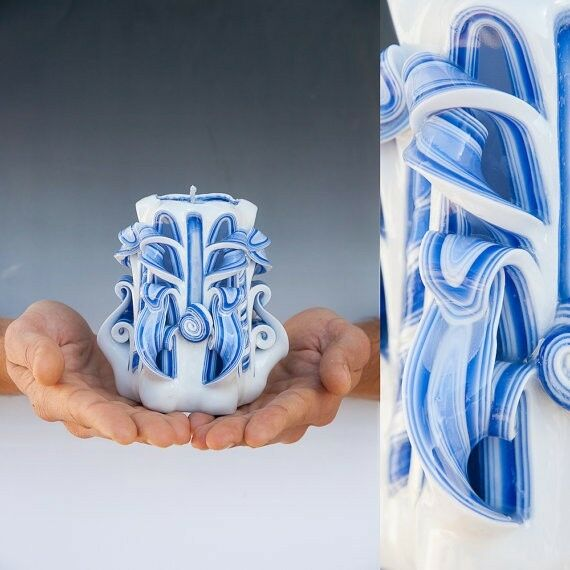 Greek Style Candle Decorative Handmade Hand Carved Candle Marine White & Blue
