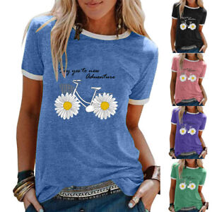 Womens-Holiday-Ladies-Blouse-Sunflower-T-Shirt-Tee-Floral-Sweatshirt-Casual-Tops