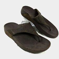Women's FitFlop Flip Flop Sandals Chocolate Brown leather Walkstar 3 Sz 9
