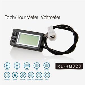 Waterproof-Hour-Meter-Tachometer-Voltmeter-Clock-Motorcycle-Mercury-Backlight