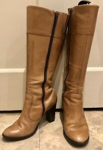 dune tan leather heels knee high boots size 6 eur 39 brown