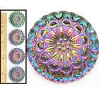 27mm Vintage Czech Glass Purple Green Rainbow Fire AB HEART Flower Buttons 4pc