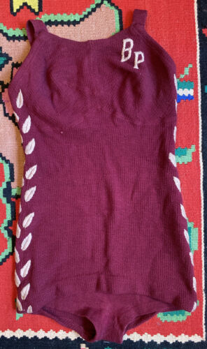 Vintage 1920s 1930s  Maroon Wool Embroidered Swimm