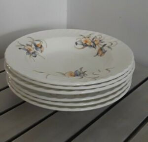 NEW-Set-of-6-Aynsley-Just-Orchids-Soup-Plates-8-034-Embossed-Fine-English-China