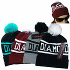 Winter Unisex Diamond Knit Ski Warm Crochet Slouch Hat Hip-hop Ball Beanie Cap