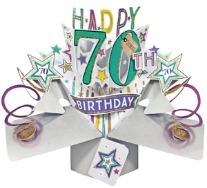 Image Is Loading New 3D Pop Up Card 70th Birthday Awesome