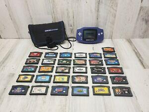 Nintendo Game Boy Advance Indigo Purple Handheld System with 31 games MINT!!