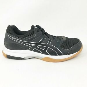 Asics-Womens-Gel-Rocket-8-B756Y-Black-White-Running-Shoes-Lace-Up-Low-Top-Size-7