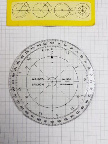 Aristo Trigon 1500 ° 70er 80er Navigation Karte Atlas Rechenscheibe Lineal Rund