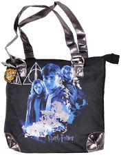 Harry Potter Tote Bag Black Zipper Group Purse Movie Charm Womens Authentic