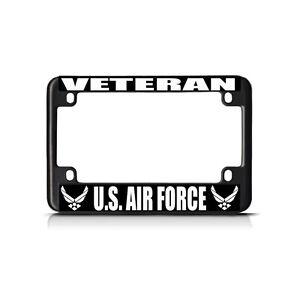 Veteran Us Air Force White Black Metal Bike Motorcycle License