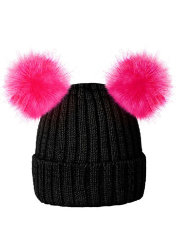 KIDS CHILDRENS KNITTED BEANIE HAT WITH 2 FAUX FUR POM POMS BY ROCKJOCK BOBBLEHAT