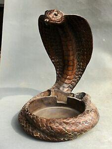 "11,6 ""Chinois Rouge Bronze Dynastie Zodiaque Animal Serpent Zun Statue Cendrier"
