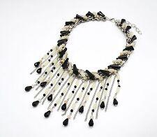 CC823 * Collier Plastron Pierres Cascade Multi-Chaînes Mode Femme - Noir/Beige