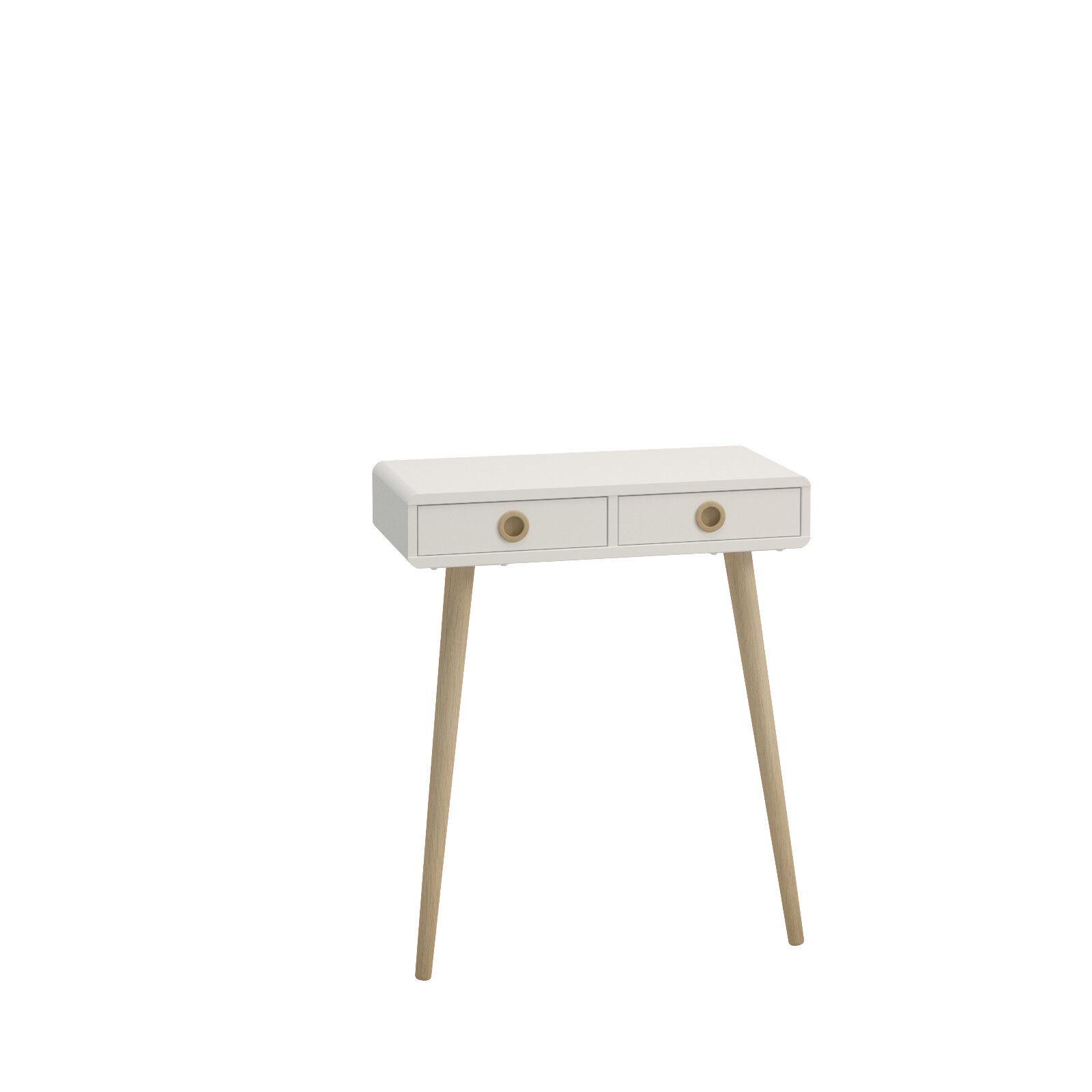 Details About Retro White Painted Low 2 Drawer Console Table 65cm 30cm 76cm