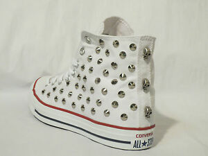Converse all star Hi borchie teschi scarpe bianco optical white rtigianali