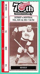 11-28-95-Canadiens-at-Red-Wings-NHL-Hockey-Ticket-Stub-From-The-Joe