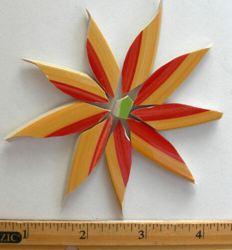 Large Yellow /& Red Aster Daisy Flower Mosaic Tiles Broken Cut China Plate