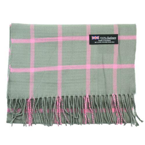 Men Women 100% CASHMERE Scarf checked Plaid Design Soft MADE IN SCOTLAND gray